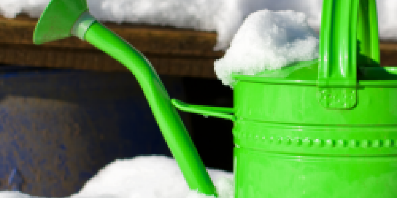 green water can covered in snow
